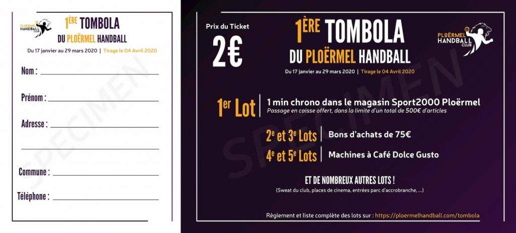 Tombola du Ploërmel Handball Club 1