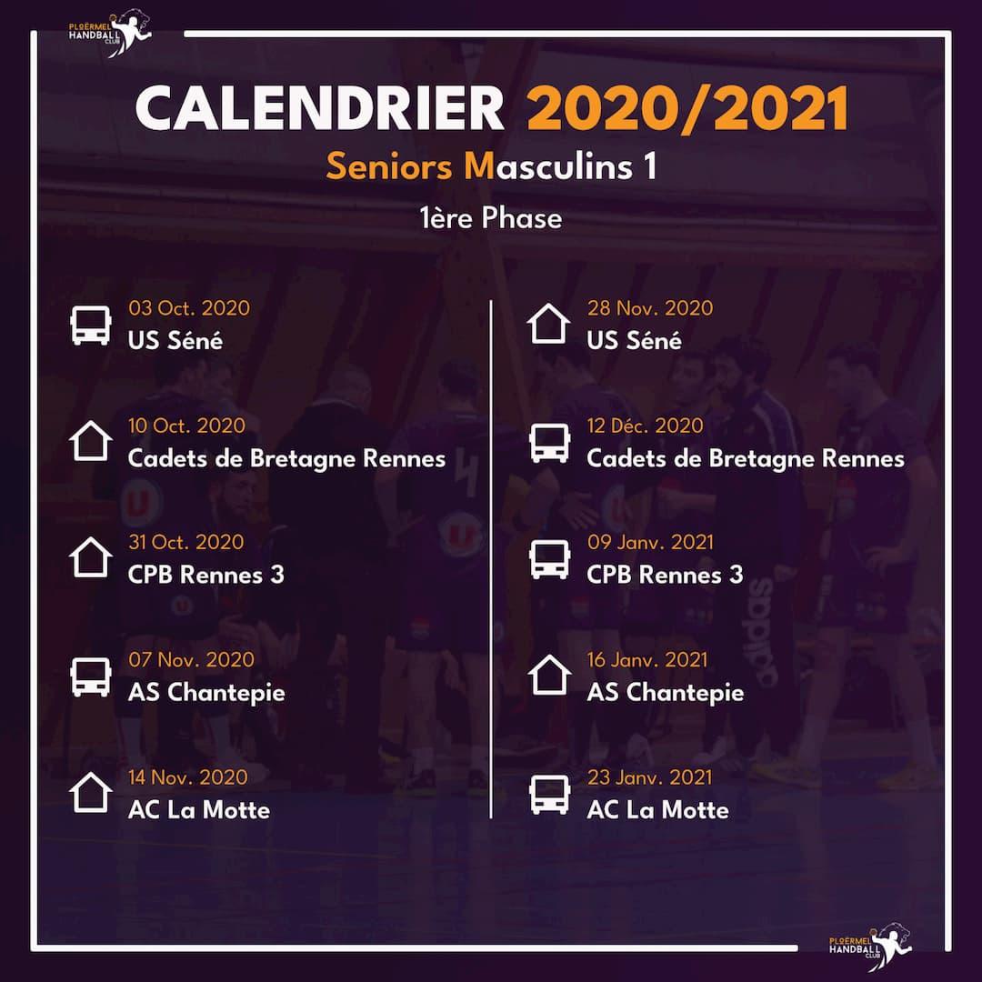 Calendrier des Seniors Masculins 1 pour 2020/2021 24