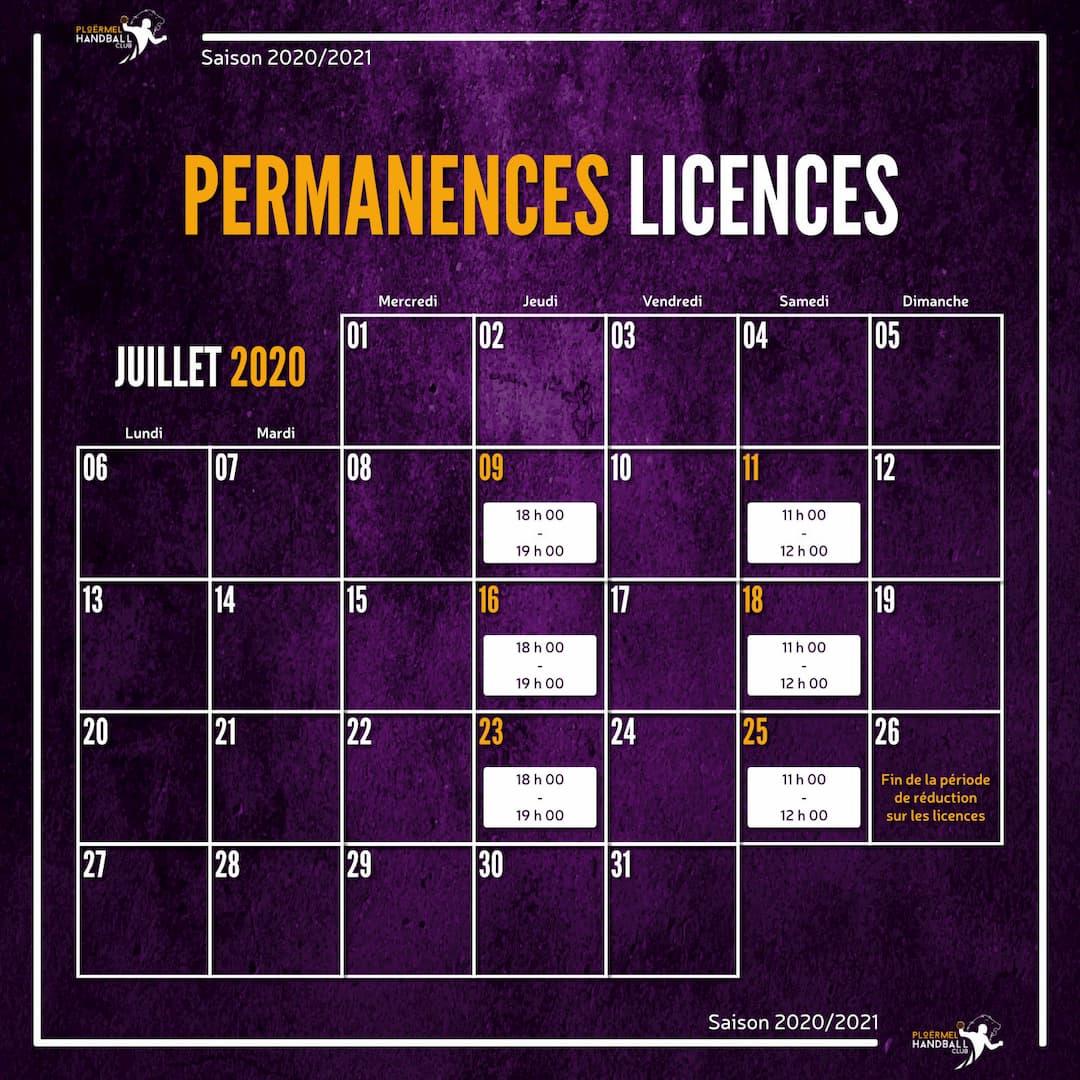 Permanences licences de juillet 2020 1