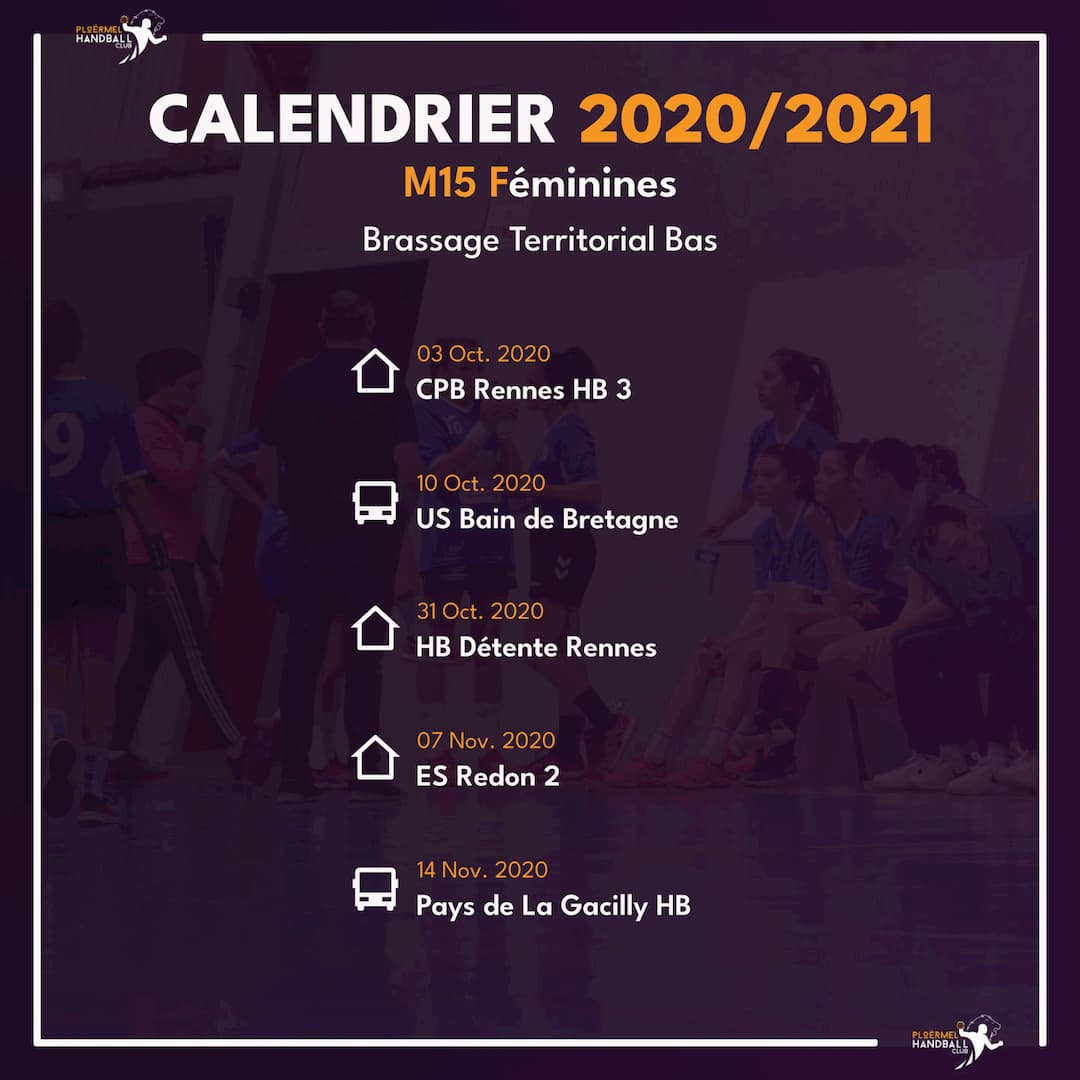 Calendrier de Brassage M15F 2020/2021 1