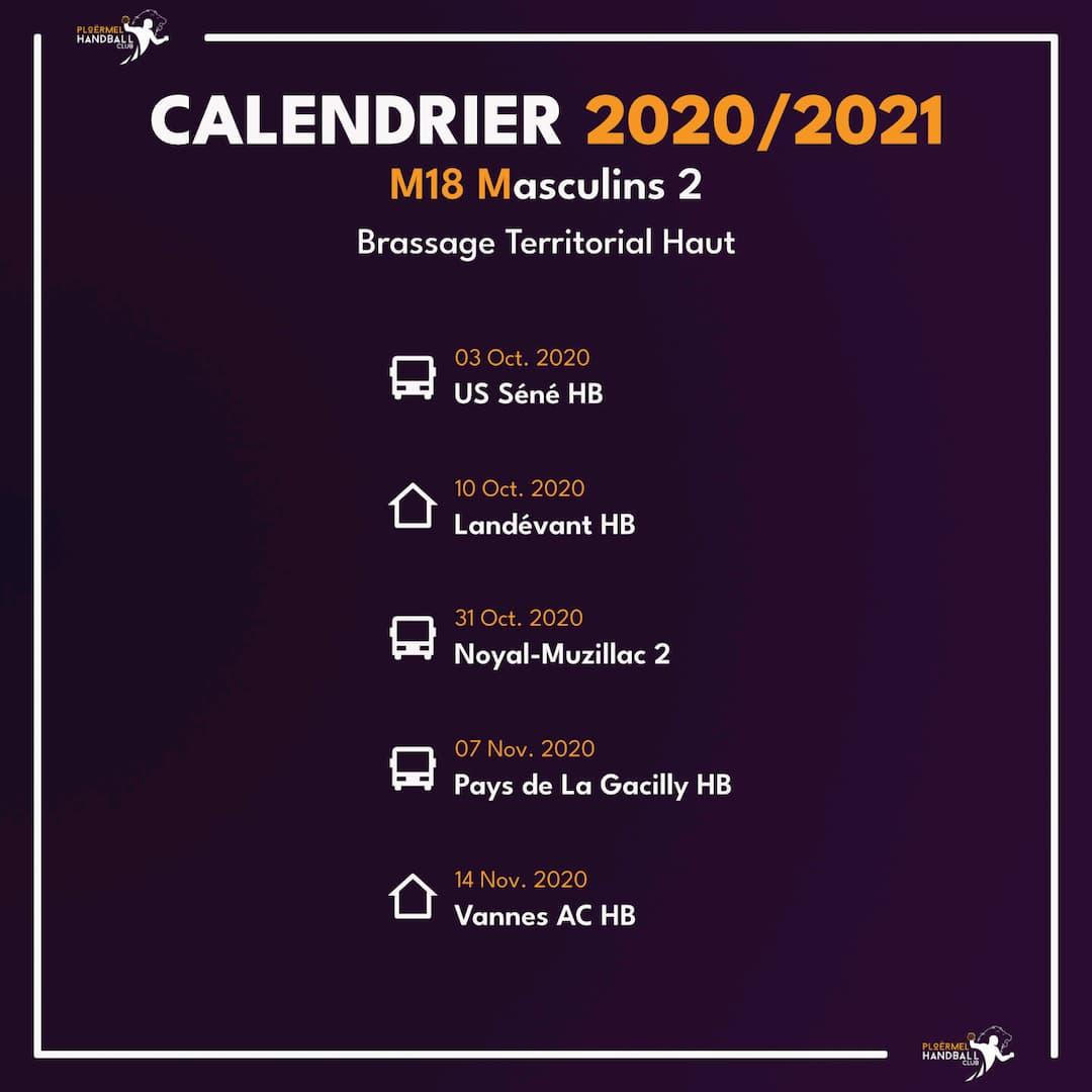 Calendrier de Brassage M18M2 2020/2021 1