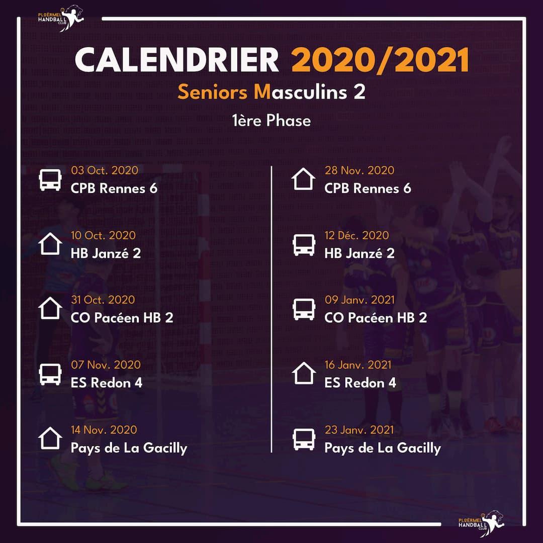 Calendrier des Seniors Masculins 2 pour 2020/2021 1