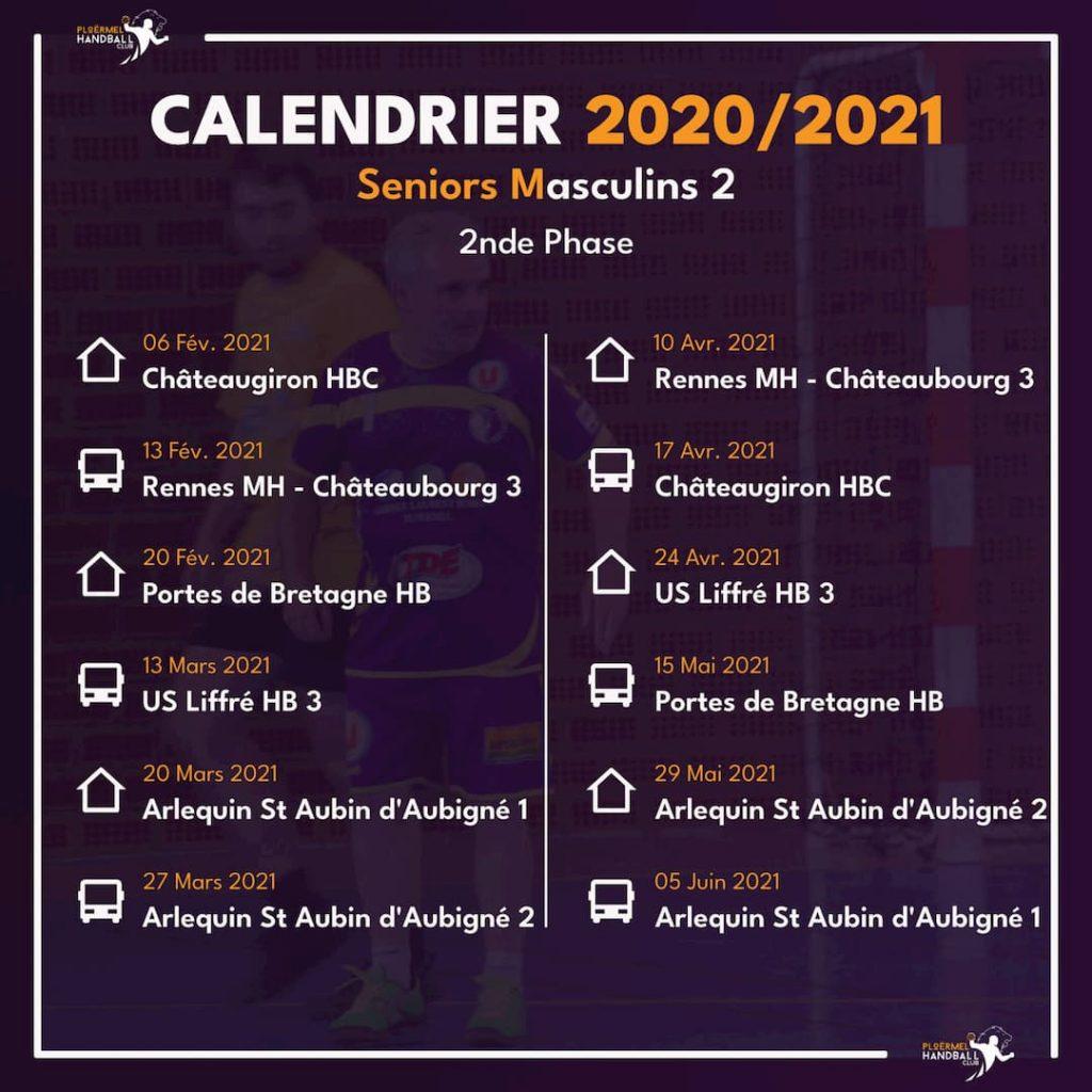 Calendrier des Seniors Masculins 2 pour 2020/2021 2