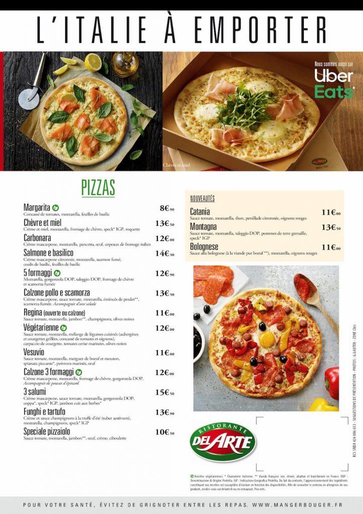 Carte des pizzas pour le samedi 06 mars 2021