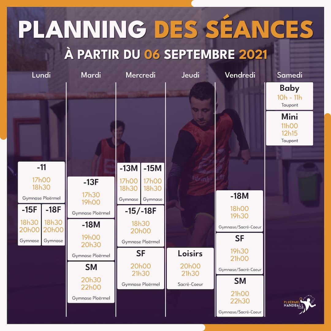 Planning des entraînements à partir du 06 septembre 2021 1