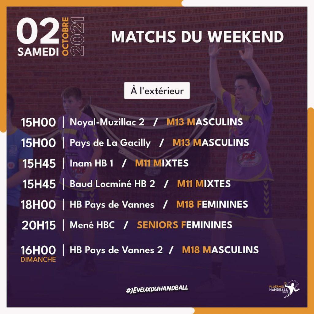 Matchs du weekend du 02 octobre 2021 12