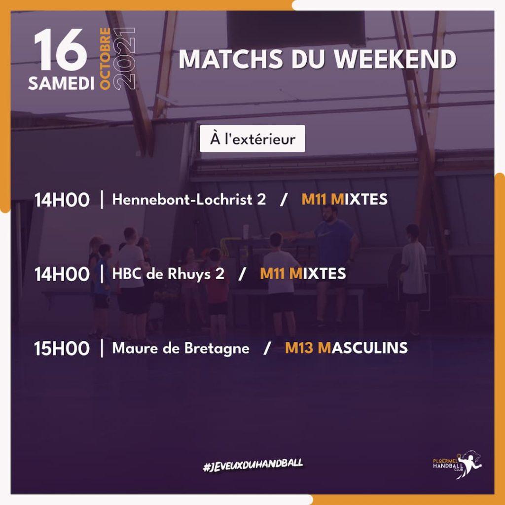 Matchs du weekend du 16 octobre 2021 2
